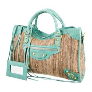 Balenciaga Tan tweed aqua leather Moto City Bag